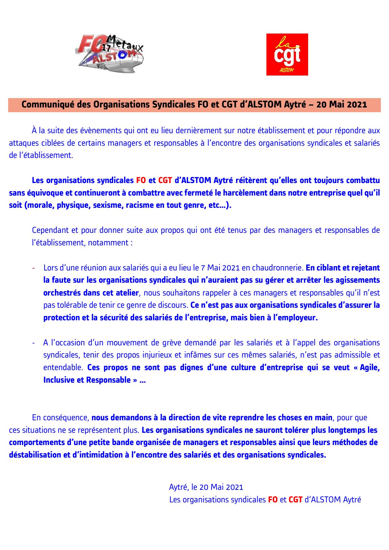Communiqué des Organisations Syndicales FO et CGT d'ALSTOM Aytré – 20 Mai 2021